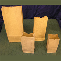 "4.25""x2.5""x9-3/8"" NATURAL KRAFT BAGS WITH GLASSINE LINER"