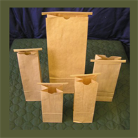NATURAL KRAFT BAGS W/POLYPRO LINER & TIN TIES